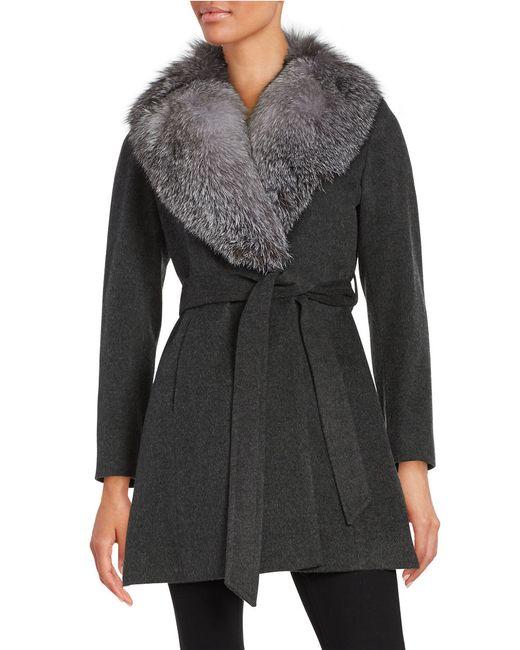 Sofia Cashmere Fox Fur-trimmed Wrap Coat In Gray