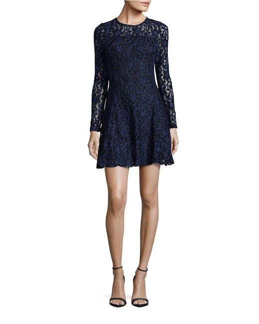 lord taylor long sleeved fit and flared lace dress in