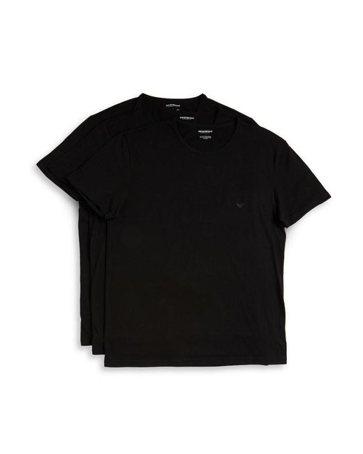 Emporio Armani | Black 3-pack Cotton Crew Neck for Men | Lyst