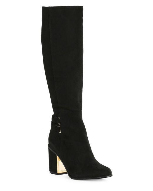 calvin klein camie high heel knee high suede boots in