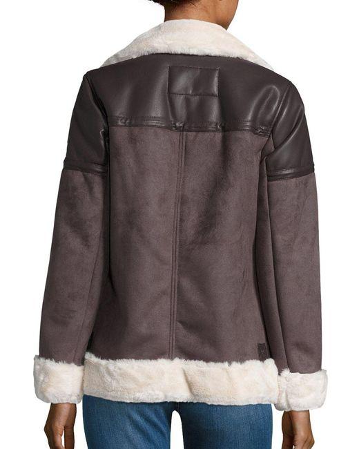 Michael Kors Faux Fur Lined Moto Zip Coat In Brown Lyst