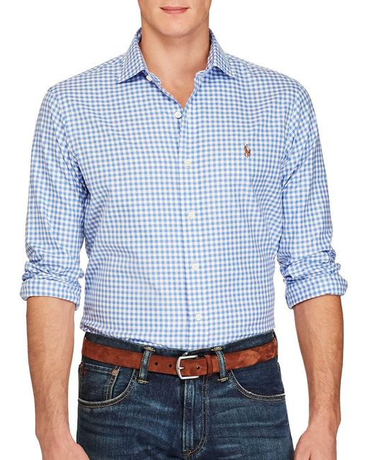 Polo ralph lauren gingham oxford estate button down shirt for Blue gingham button down shirt