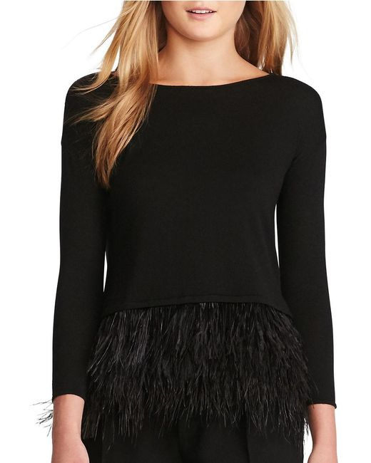 Polo Ralph Lauren | Black Feather-trim Merino Sweater | Lyst