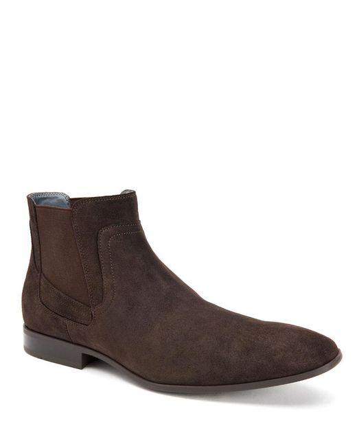 calvin klein clarke suede chelsea boots in brown lyst