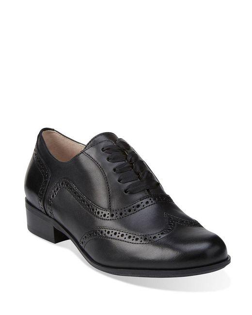 Clarks Hamble Oak Black Leather Womens Shoes