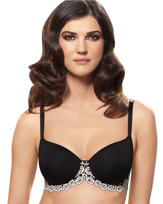 Wacoal | Black Embrace Lace Scalloped Edge T-shirt Bra | Lyst