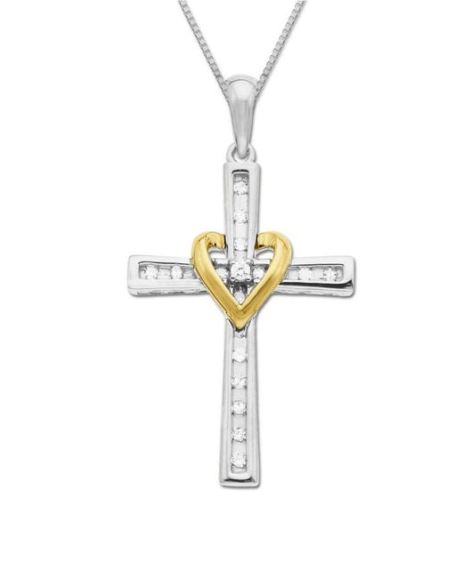 Lord & Taylor   Metallic Diamond Accented Cross In Sterling Silver With 14k Yellow Gold   Lyst