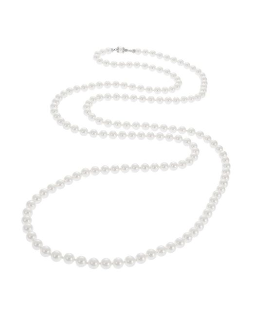 Nadri | White Faux Pearl Opera Necklace | Lyst