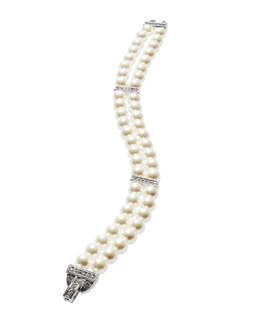 Nadri | White Double-row Faux Pearl Bracelet | Lyst