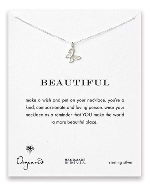 Dogeared   Metallic Sterling Silver Butterfly Pendant Necklace   Lyst
