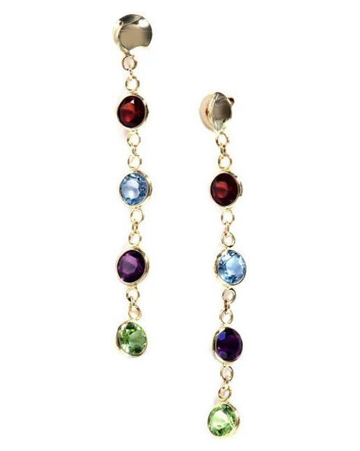 Effy   Blue Semi-precious, Multi-stone And 14k Yellow Gold Drop Earrings   Lyst