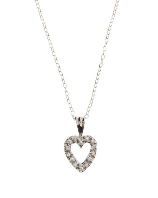 Lord & Taylor | Metallic Sterling Silver And Cubic Zirconia Open-heart Mini Pendant Necklace | Lyst