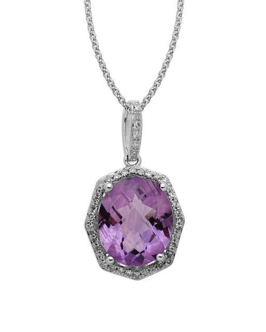 Lord & Taylor | Metallic Sterling Silver Light Amethyst And Diamond Pendant Necklace | Lyst