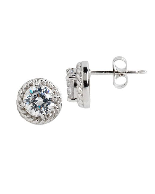 Lord & Taylor | Metallic Sterling Silver And Cubic Zirconia Braided Stud Earrings | Lyst