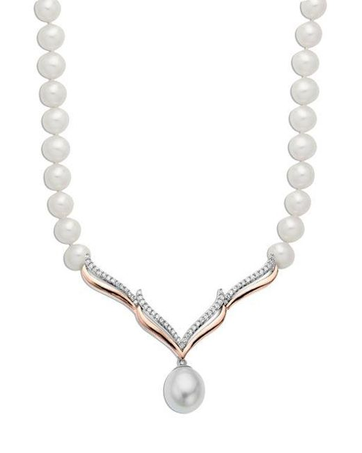 Lord & Taylor | White Sterling Silver With 14kt. Rose Gold Pearl And Diamond Necklace | Lyst