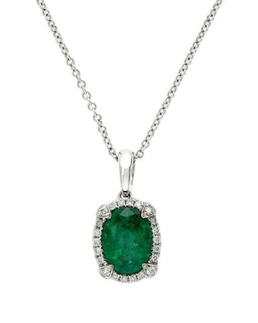 Effy | Green Brasilica 14k White Gold Emerald And Diamond Pendant Necklace | Lyst