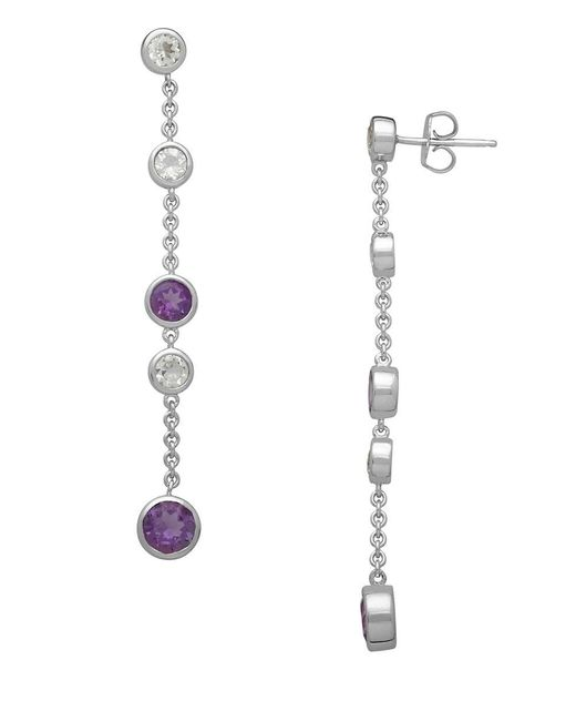 Lord & Taylor | Metallic Sterling Silver And Amethyst Drop Earrings With White Topaz Embellishments | Lyst