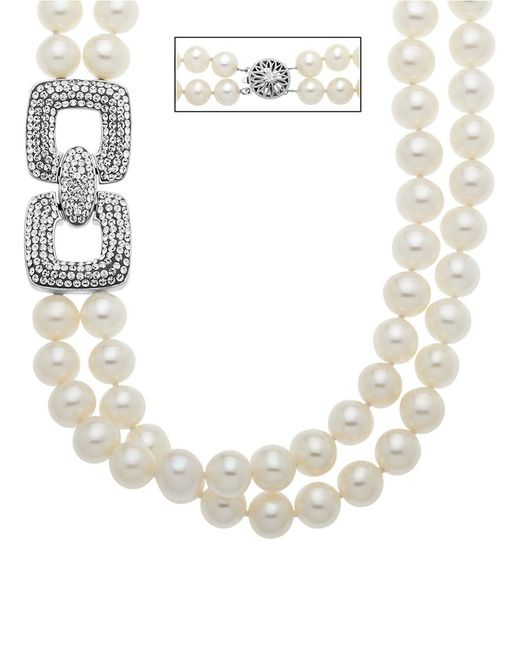 Lord & Taylor   Metallic Sterling Silver Pearl And Crystal Necklace   Lyst