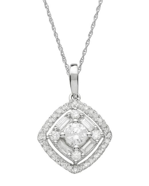 Lord & Taylor | Metallic Diamond And 14k White Gold Pendant Necklace | Lyst