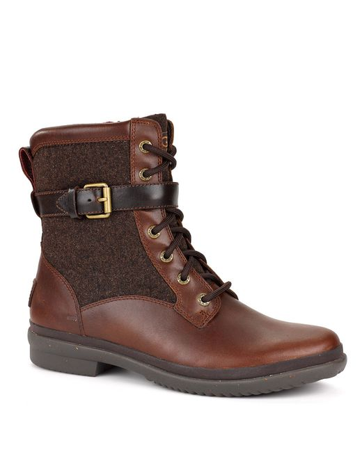 Ugg | Brown ® Kesey Cold Weather Leather And Textile Boots | Lyst