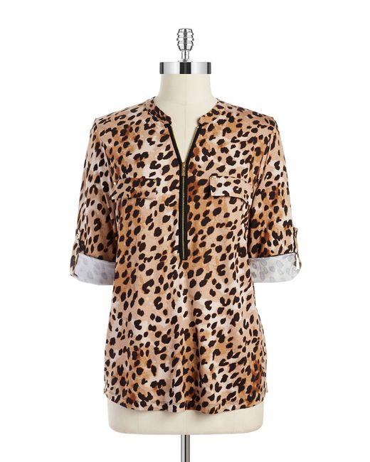 Calvin Klein | Multicolor Plus Size Animal-print Zipper-neck Top | Lyst