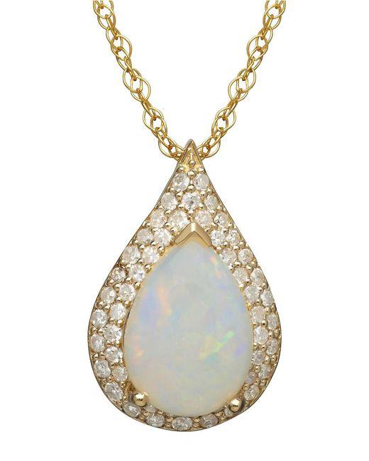 Lord & Taylor | Metallic 14k Yellow Gold Opal And Diamond Pendant | Lyst