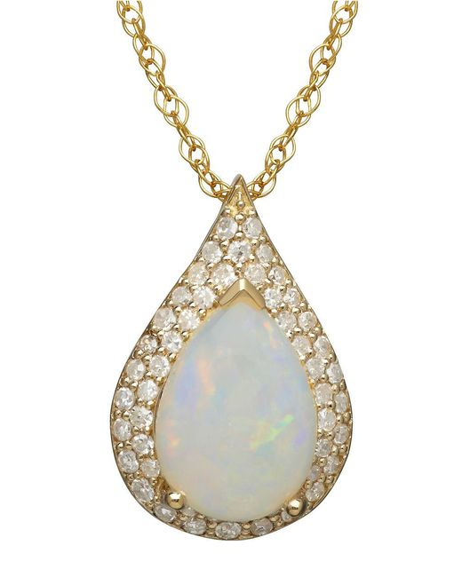 Lord & Taylor   Metallic 14k Yellow Gold Opal And Diamond Pendant   Lyst