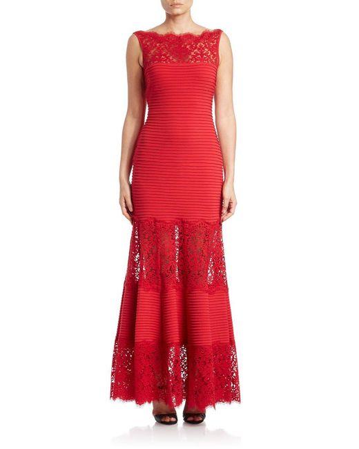 Tadashi Shoji | Red Lace-trimmed Sleeveless Mermaid Gown | Lyst