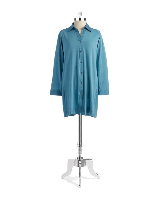 Donna Karan | Blue Cotton Sateen Sleepshirt | Lyst