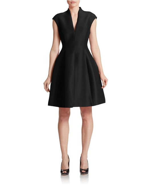 Halston Heritage | Black Cotton-silk Structured Dress | Lyst