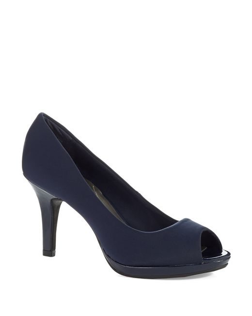 Bandolino | Blue Supermodel Peep Toe Pumps | Lyst