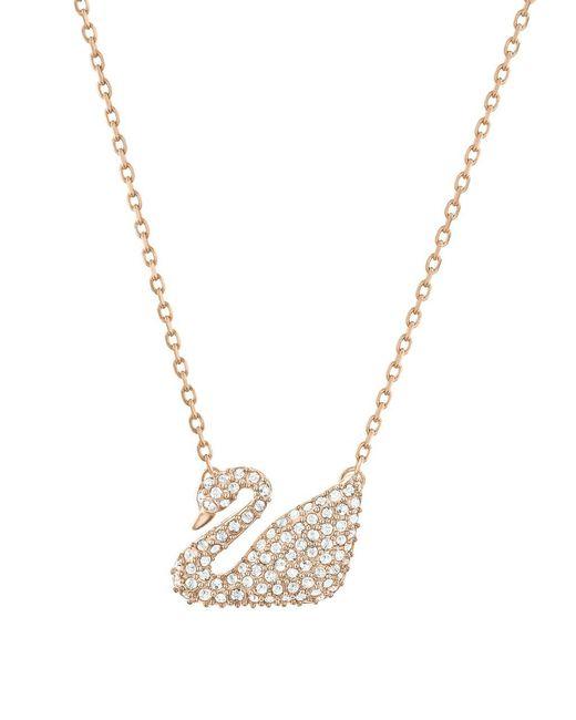 Swarovski | Metallic Swan Crystal And Rose Goldtone Pendant Necklace | Lyst