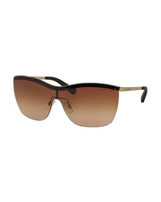 Michael Kors | Brown Paphos Shield 39mm Sunglasses | Lyst