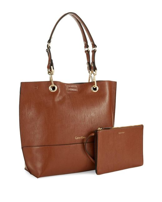 Calvin Klein | Brown Reversible Faux Leather Tote | Lyst