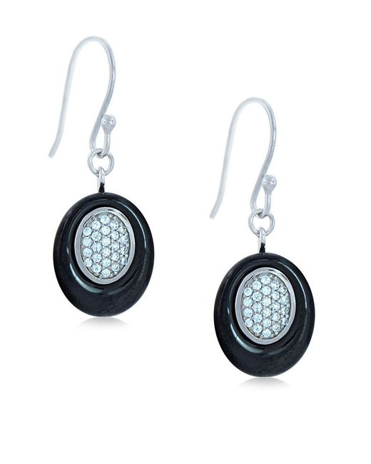Lord & Taylor | Ceramic Gem Faux Diamond And Black Ceramic Oval Drop Earrings | Lyst