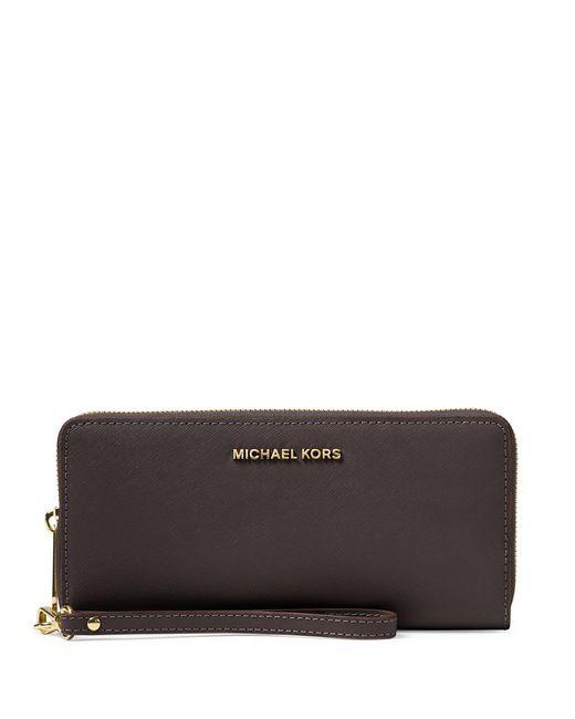 MICHAEL Michael Kors | Black Jet Set Continental Multifunction Phone Wallet | Lyst
