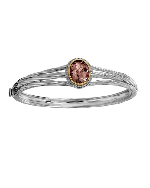 Lord & Taylor | Brown Sterling Silver And Smokey Topaz Bangle Bracelet | Lyst