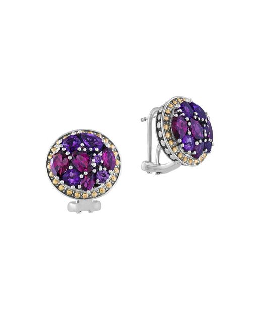 Effy | Purple Amethyst, Rhodolite, Sterling Silver And 18k Yellow Gold Button Stud Earrings | Lyst
