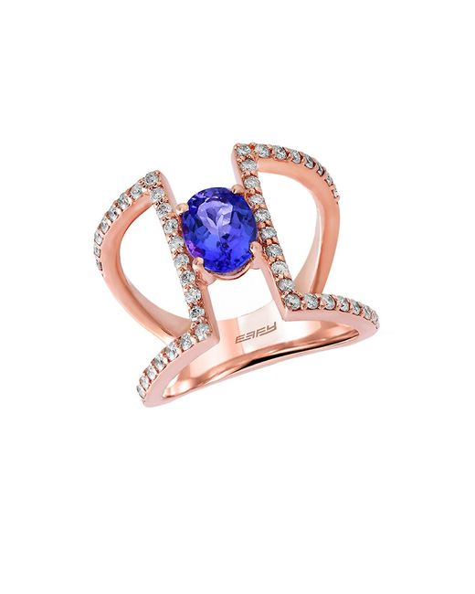 Effy | Blue Tanzanite Royale Diamond And 14k Rose Gold Cutout Ring, 0.59tcw | Lyst