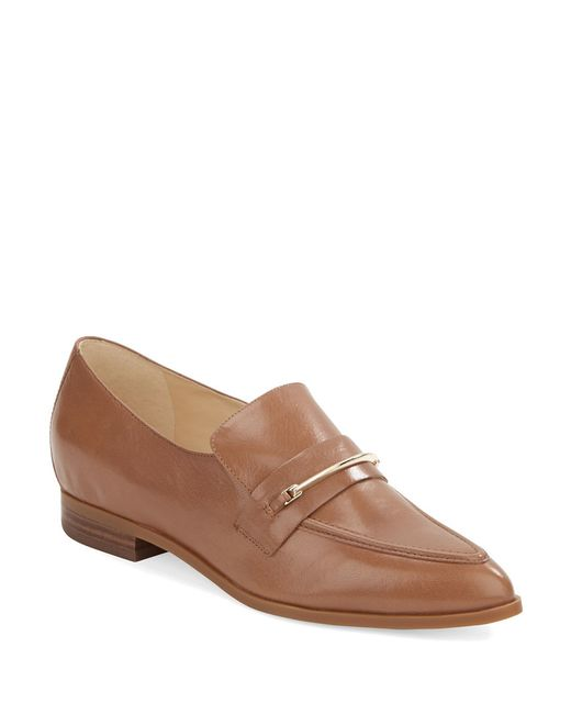 Nine West | Brown Oxidize Leather Point-toe Flats | Lyst