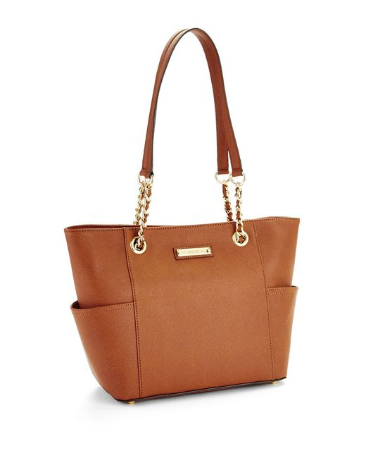 Calvin Klein | Brown Saffiano Leather Tote | Lyst