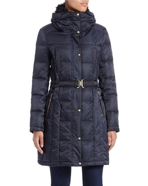 Vince Camuto | Blue Faux Fur-collared Belted Coat | Lyst