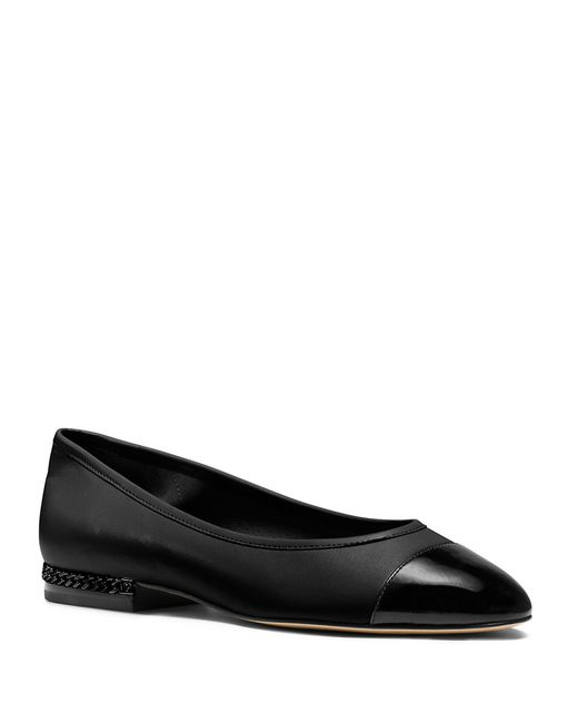MICHAEL Michael Kors | Black Sabrina Cap Toe Leather Flats | Lyst