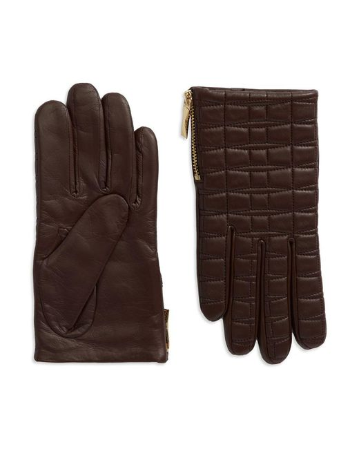 Kate Spade | Brown Quilted Leather Driving Gloves | Lyst