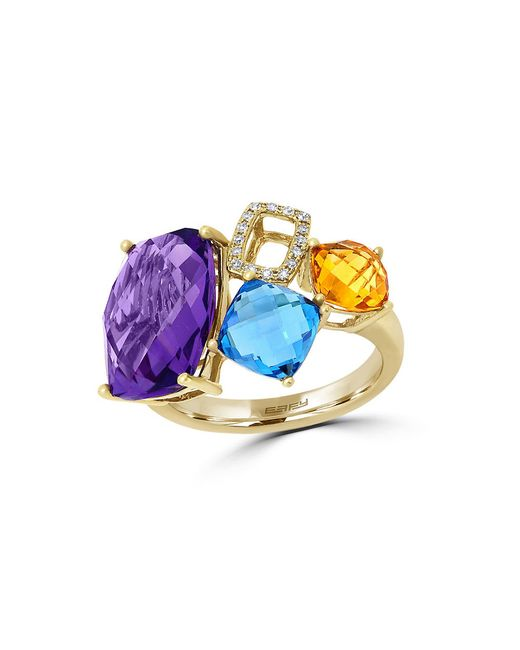 Effy | Metallic Mosaic 14k Yellow Gold And Multi-colored Stone Ring | Lyst