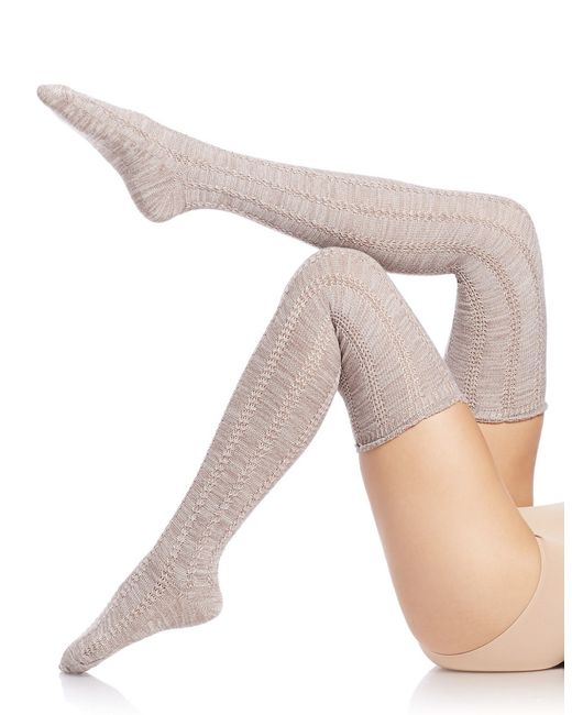 Free People | Natural Pointelle Over-the-knee Socks | Lyst