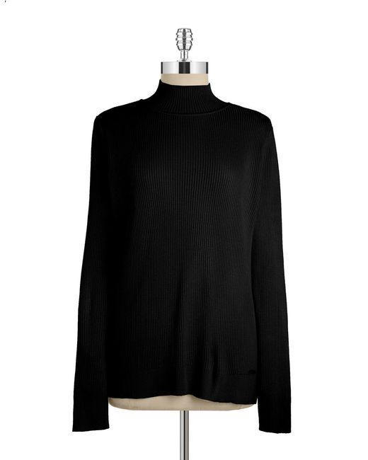 Calvin Klein | Black Mockneck Knit Sweater | Lyst