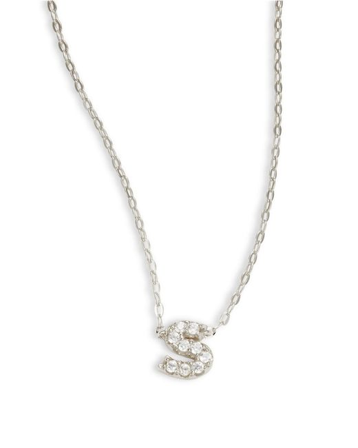 Nadri   Metallic Sterling Silver S Initial Necklace   Lyst