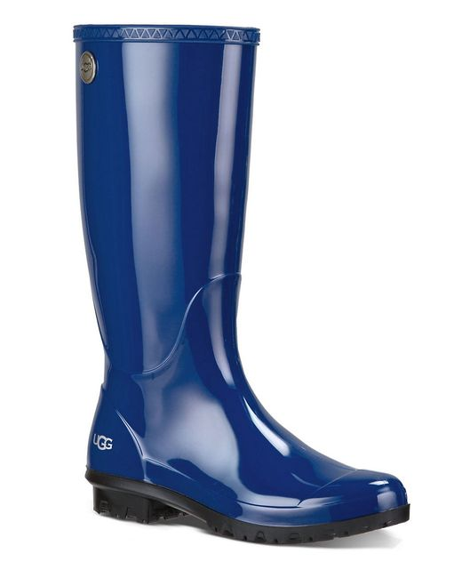 UGG | Blue ® Shaye Rubber Shearling Lined Glossed Waterproof Rain Boots | Lyst