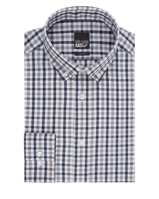 William Rast | Blue Slim Fit Plaid Dress Shirt for Men | Lyst